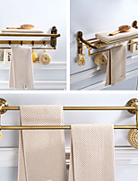 cheap -Foldable Bathroom Towel Shelf, 2 Layers Multifunction Antique Hardware Accessory Set with Carved Paterns, Aluminum, 3 Styles, 60cm, 60.5cm, 61.7cm - Wall Mounted