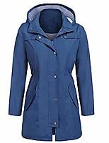 cheap -waterproof jackets for women with hood tie waisted lightweight mid thigh long windbreaker dark blue xxs
