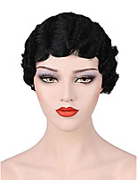 cheap -black bob wigs for women 1920s flapper short hair wig finger wave wigs for party costume halloween bu110bk2
