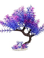 cheap -27cm Violet Purple Curved Tree High Grade Artificial Plastic Plants Aquarium Fish Turtles Tank High Quality Decorations