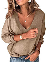 cheap -womens v neck sweaters batwing long sleeve knitted pullover tops (khaki,medium)