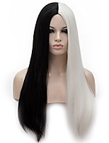 cheap -max beauty black and white two tone wig for halloween wig party wig for cruella deville from 101 dalmatians wig+ free cap