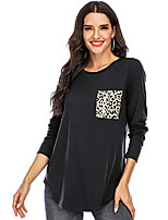 cheap -women's leopard print pocket long sleeve t shirts casual loose curved hem tops crewneck basic cute tees