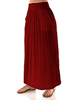 cheap -women's high waist shirring maxi skirt with pockets (size: s - 5x), 5x, wine