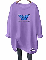 cheap -women butterfly print long sleeve t shirt loose graphic distressed blouse tee top (xl, purple with blue butterfly)