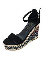 cheap -Women's Sandals Wedge Heel Peep Toe Classic Daily PU Color Block Almond Black