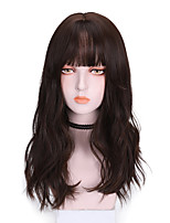 cheap -Synthetic Wig Curly With Bangs Wig Medium Length Dark Brown Brown Black Synthetic Hair 18 inch Women's Comfy Fluffy Dark Brown Brown
