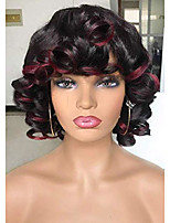 cheap -ombre wine red with hightlights afro curly wig for black white women big bouncy fluffy short curly wig with bangs