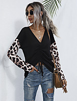cheap -Women's T-shirt Leopard Color Block Long Sleeve Patchwork V Neck Tops Cotton Basic Basic Top Black Dusty Rose