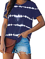 cheap -womens casual round neck top striped tie dye printed tunic short sleeve t shirt summer tee for women blue