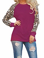 cheap -women casual o-neck leopard patchwork t-shirt knits & tees s-xxl purple red
