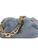 cheap -Women's Bags Faux Fur Top Handle Bag Zipper Chain Daily Outdoor Handbags Baguette Bag Chain Bag White Black Blue Purple