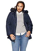 cheap -women's plus size cinchable-waist coat with cozy-trimmed hood, stormy night, 1x