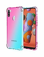 cheap -compatible with samsung galaxy a11 case,crystal clear case with 4 corners shockproof protection soft scratch-resistant tpu cover for samsung galaxy a11 phone. (pink/teal)