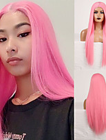 cheap -Cosplay Costume Wig Synthetic Wig Straight Natural Straight Middle Part Wig Long Pink Synthetic Hair Women's Odor Free Fashionable Design Soft Pink / Heat Resistant