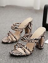 cheap -Women's Sandals Chunky Heel Open Toe Sexy Daily Walking Shoes PU Leopard Leopard