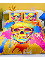 cheap -Skull Series Colorful Ink Print 3-Piece Duvet Cover Set Hotel Bedding Sets Comforter Cover with Soft Lightweight Microfiber For Room Decoration(Include 1 Duvet Cover and 1or 2 Pillowcases)