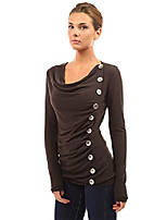 cheap -women cowl neck button embellished blouse (dark brown large)