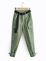 cheap -Women's Basic Streetwear Comfort Daily Going out Pants Tactical Cargo Pants Solid Colored Full Length Pocket Black Army Green