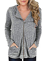 cheap -women's casual lightweight soft zip up long sleeve hoodie sweatshirt jacket with pockets gray l