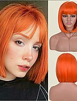cheap -orange short bob wig with bangs for women synthetic orange wigs straight women's costume wigs halloween party christmas