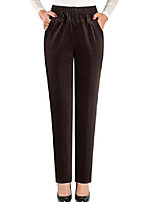 cheap -women's elastic waist straight corduroy pull-on pants with pocket coffee m fit w36