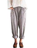 cheap -women's casual harem pants high waist vintage striped loose cotton linen long trousers (xl, khaki)