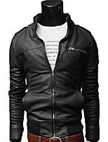 cheap -mens slim fit retro style zipped biker jacket pu leather soft casual coat (black, l)