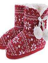 cheap -girls slippers booties warm plush slipper shoes cute comfortable house boots memory foam anti-skip indoor and outdoor red 10-11 m us