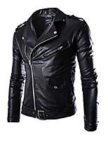 cheap -men's fashion plus size zipper faux leather coat jacket black xl
