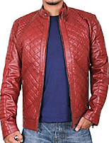 cheap -men's genuine lambskin leather jacket (maroon, 2xl, polyester lining) - 1501491