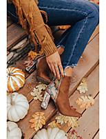 cheap -Women's Boots Chunky Heel Pointed Toe Daily Satin PU Dark Brown