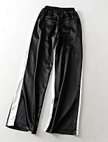 cheap -Women's Basic Streetwear Comfort Daily Going out Wide Leg Pants Pants Striped Full Length Pocket Drawstring Black