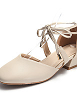 cheap -Women's Sandals Block Heel Square Toe Casual Daily Walking Shoes PU Almond Pink