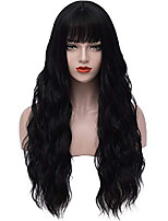cheap -black wigs for women long curly wavy hair wig with bangs natural fashion heat resistant synthetic wig for daily cosplay halloween party m062bk