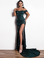 cheap -Sheath / Column Sexy bodycon Prom Formal Evening Dress Off Shoulder Sleeveless Court Train Sequined with Split 2020
