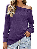 cheap -purple shirts for women cute shoulder off long sleeve tops boat neck large