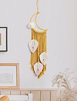 cheap -Hand Woven Macrame Dreamcatcher Bohemian Boho Art Decor Hanging Home Bedroom Living Room Decoration Nordic Handmade Tassel Cotton Moon Yellow