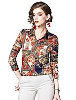 cheap -women's collared baroque-inspired shirts casual button up blouse top