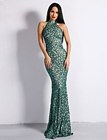 cheap -Mermaid / Trumpet Sexy bodycon Prom Formal Evening Dress High Neck Sleeveless Sweep / Brush Train Spandex with Sequin 2020