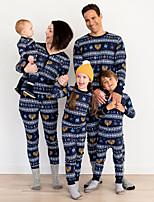 cheap -Family Look Santa Claus Plaid Print Long Sleeve Regular Regular Clothing Set Blue