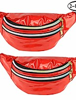 cheap -2 pieces holographic fanny packs, waterproof metallic color shiny sport waist pack with adjustable belt for rave party festival travel hiking (red)