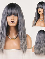 cheap -Cosplay Costume Wig Synthetic Wig Wavy Deep Curly Middle Part Neat Bang Wig Long Ombre Grey Synthetic Hair Women's Odor Free Fashionable Design Soft Dark Gray Ombre / Heat Resistant