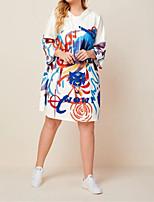 cheap -Women's T Shirt Dress Tee Dress Midi Dress - Long Sleeve Print Floral Animal Patchwork Print Winter Plus Size Casual Loose 2020 White Blue Yellow S M L XL XXL 3XL