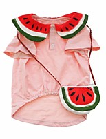 cheap -Dog Shirt / T-Shirt Vest Watermelon Printed Elegant Cute Casual / Daily Dog Clothes Puppy Clothes Dog Outfits Breathable Pink Costume for Girl and Boy Dog Cotton XS S M L XL XXL