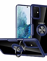 cheap -galaxy s20 case,  crystal clear carbon fiber design hybrid protective phone case cover with [ring holder kickstand] [magnetic car mount feature] for samsung galaxy s20 6.2 inch,blue