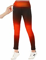 cheap -womens winter heated pants with elastic waistband for fishing hiking (no battery) black
