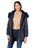 cheap -women's cotton parka jacket, colored fur navy/navy, s