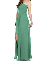 cheap -Sheath / Column Minimalist Sexy Wedding Guest Formal Evening Dress Strapless Sleeveless Floor Length Chiffon with Pleats Split 2021