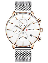 cheap -men's luxury casual quartz watch silver stainless steel mesh strap sports watch date chronograph waterproof watch (golden white)